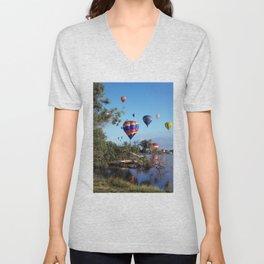 Hot air balloons over lake Unisex V-Neck