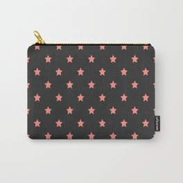 Pink stars pattern on black background Carry-All Pouch