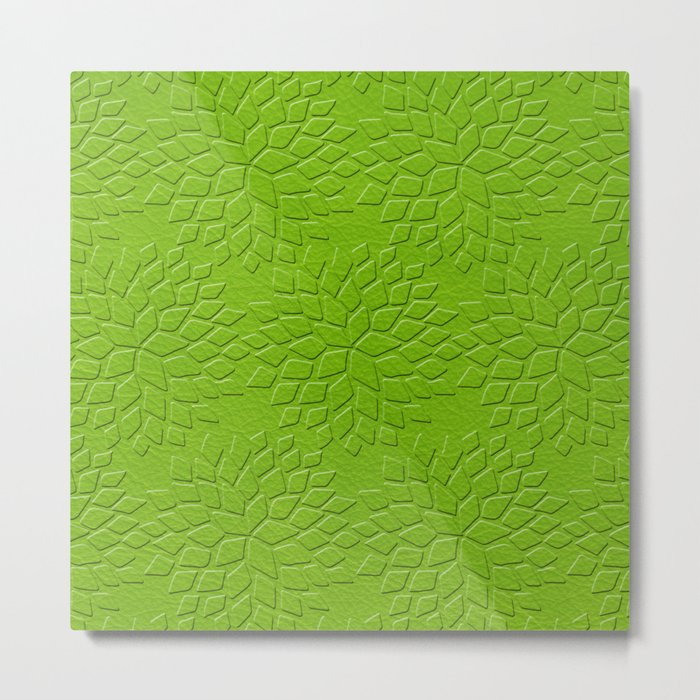 Leather Look Petal Pattern - Greenery Color Metal Print