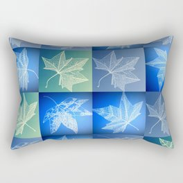 blue leaf drawings Rectangular Pillow