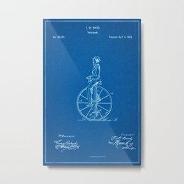 1869 Velocipede Patent - Blueprint Style Metal Print