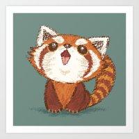 red panda Art Prints featuring Red panda by Toru Sanogawa