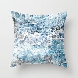 Sea foam blue marble Throw Pillow