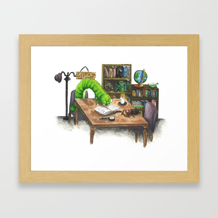 Little Worlds: The Library Framed Art Print