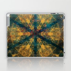 Tribal mandala in blue and gold Laptop & iPad Skin