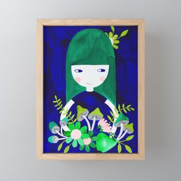 green hair girl in blue with floral illustration watercolor Framed Mini Art Print