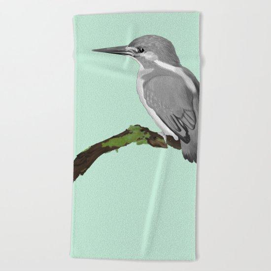 Kingfisher in gray Beach Towel