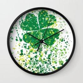 watercolor clover Wall Clock