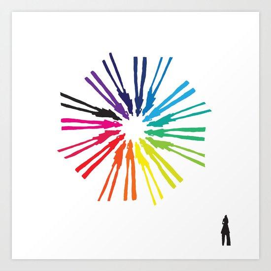 Spinning Shadows Rainbow II Art Print