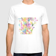 Typographic Arkansas - Multi Watercolor White Mens Fitted Tee MEDIUM