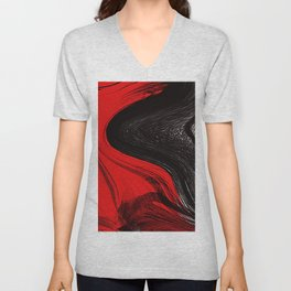 Abstract art red and blacks Unisex V-Neck