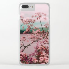 Pink Baby's Breath White Pink Blossoms Against Turquoise Background Clear iPhone Case