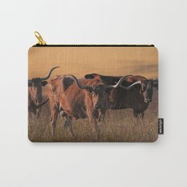 Texas Longhorn Steers on the Prairie at Sunset Carry-All Pouch