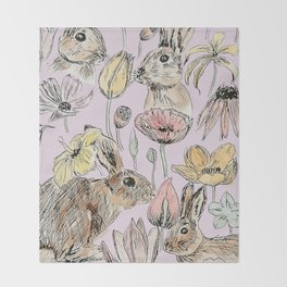 rabbits and flowers with color Throw Blanket