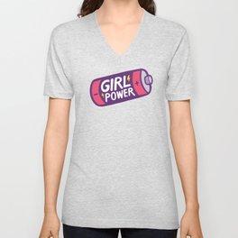 Girl Power Pattern in Pink Unisex V-Neck