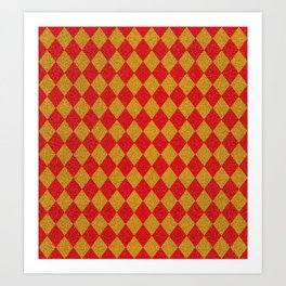 Easter Argyle plaid. Scottish pattern in glitter checked red yellow rhombuses. Scottish cage. Traditional Scottish background of diamonds.  Art Print