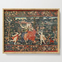 Franco Flemish Allegorical 17th Century Tapestry Print Serving Tray