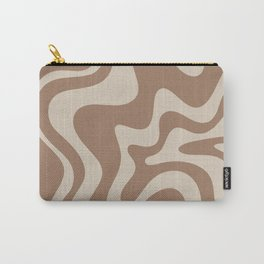 Liquid Swirl Contemporary Abstract Pattern in Chocolate Milk Brown and Beige Carry-All Pouch