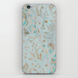 Pastel Botanical Watercolor Pattern Teal Gold Glitter iPhone Skin