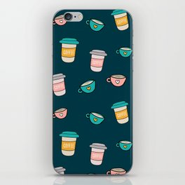 Happy coffee cups and mugs in dark-blue background iPhone Skin