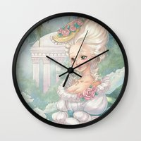 marie antoinette Wall Clocks featuring Marie-Antoinette by Pich illustration