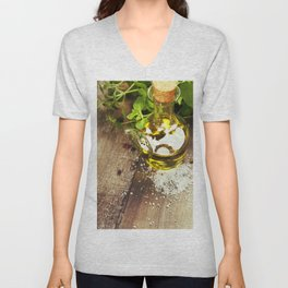 Olive oil,  herbs and spices on a wooden table Unisex V-Neck
