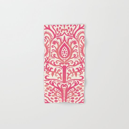 Strawberry and Cream Watercolor Tulip Damask Hand & Bath Towel