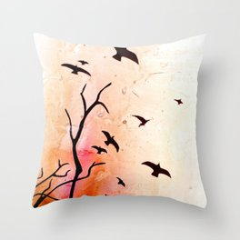 Birds flying Throw Pillow