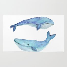 whale watercolor Rug