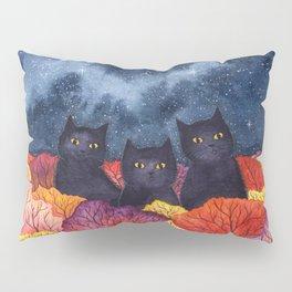 Three Black Cats in Autumn Watercolor Pillow Sham