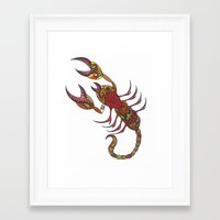 tatoo Framed Art Prints featuring Tatoo Scorpion by PepperDsArt