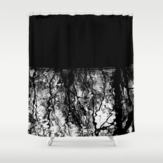 Black and White Tree Branch Silhouette Reflections Shower Curtain