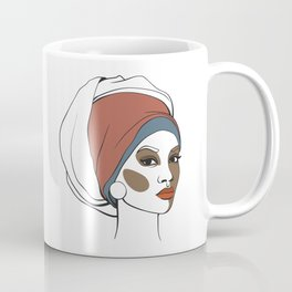 African American woman in headscarf with makeup. Abstract face. Fashion illustration Coffee Mug