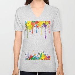 Paint Watercolor Splatter Unisex V-Neck