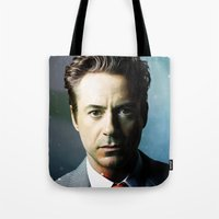 robert downey jr Tote Bags featuring Robert Downey Jr 001 by TheTreasure