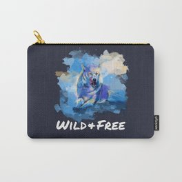 Wild and Free - Wolf illustration, quote Carry-All Pouch
