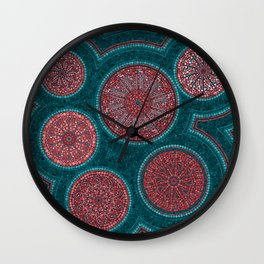 Dot Art Circles Abstract Living coral and teal Wall Clock