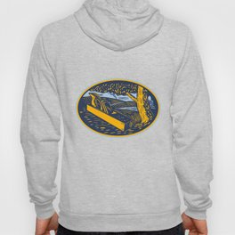 Wood Plane Forest Oval Woodcut Hoody