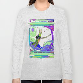 Moonscape Rainbow Dragonfly Yellow Abstract Long Sleeve T-shirt