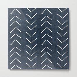 Mud Cloth Big Arrows in Navy Metal Print