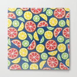 Vitamin C Super Boost - Citric Fruits on Blue Metal Print