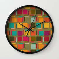 square Wall Clocks featuring Square by Mimi
