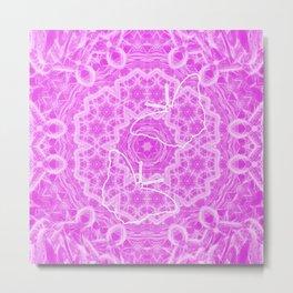 butterfly shapes on pink mandala Metal Print