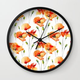 Hand Painted orange yellow watercolor poppies floral Wall Clock