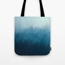 Misty Turquoise Blue Pine Forest Foggy Ombre Monochrome Trees Landscape Tote Bag
