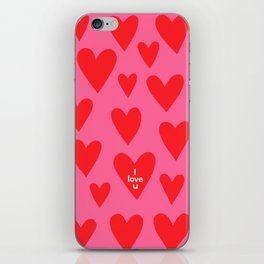 I love u. (red hearts/pink background) iPhone Skin