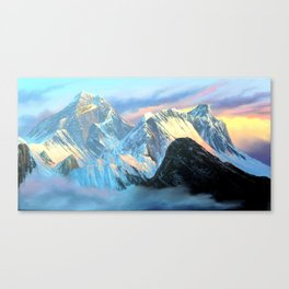 Panoramic Sunrise View Of Everest Mountain Canvas Print