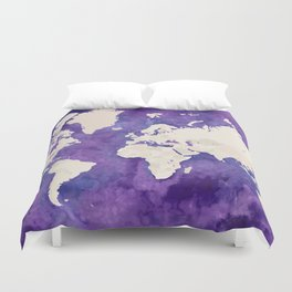 Purple watercolor and light brown world map with outilined countries Duvet Cover