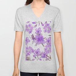 Watercolor lavender lilac brown modern floral Unisex V-Neck