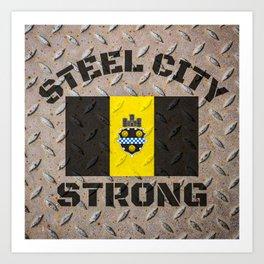 Pittsburgh Steel City Strong Flag On Metal 412 Pride Art Print